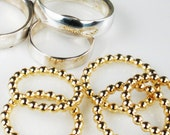 Gold Beaded Stacking Rings - 12/20 Solid Gold Filled Rings - Size 7 - 8 - Gold Stacking Ring - Beaded Gold Ring - Earring Hoop Component