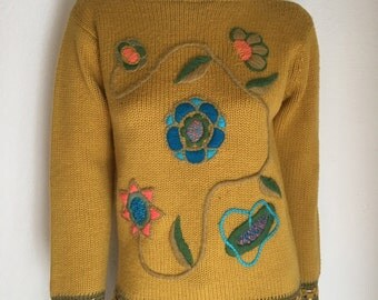 Vintage Women's 70's Boho Sweater, Mustard Yellow, Acrylic, Long Sleeve (M)
