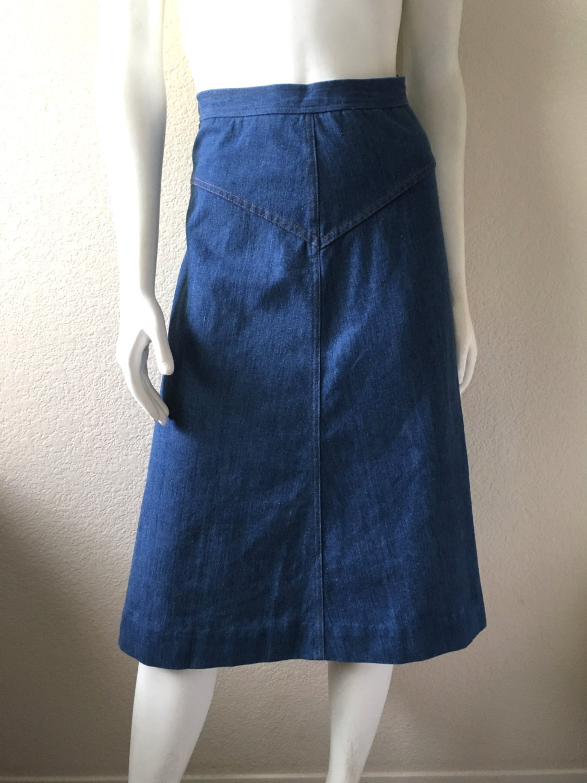 vintage s 70 s denim skirt a line knee length