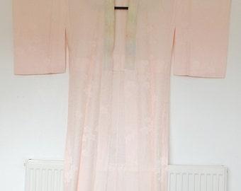 Nagajuban Underkimono Robe Light Peachy Pink With Flower Pattern 三