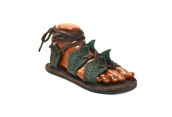 Unisex Gladiator Leaf Sandals / Handmade Leather Sandal Flats Lace Up Straps Greek Medieval Renaissance Renfest Fairy Faerie Pan