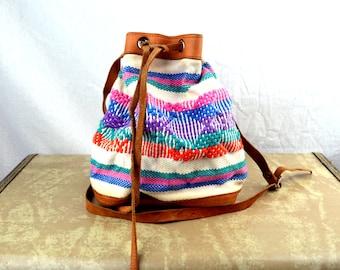 Mini Vintage Rainbow Guatemalan Fabric Drawstring Pouch Purse