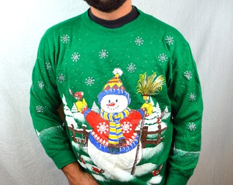 Vintage 80s 90s Snowman Green Glitter Snow Christmas Puffy XMAS Holiday Oversized Ugly Sweatshirt
