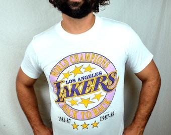 Vintage 80s Los Angeles Lakers NBA Basketball  Basketball Shirt 1988
