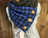 Crochet Infinity Scarf with Tartan Buffalo Plaid Fabric and Wood Buttons - WANDERLUST