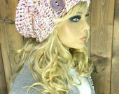 Crochet Ribbed Brim Slouchy Slouch Crochet Beanie Hipster Hat with Wood Button- COMPASS - Majestic
