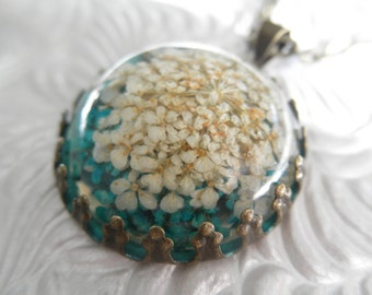 Turquoise & White Queen Anne's Lace Atop Glowing Turquoise-Domed Pressed Flower Bronze Crown Pendant-Symbolizes Peace-Gifts Under 30