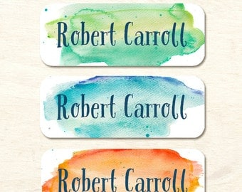 30 name labels, watercolor background, boy stickers, daycare labels, personalized label, waterproof bottle label, lunch box stickers (NS-08)