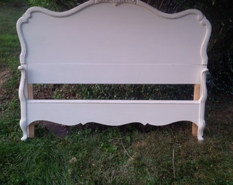 BED Full Size Bed Vintage French Provincial Headboard and Footboard Poppy Cottage Painted Furniture Custom PAINT to ORDER