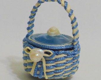 Dollhouse Miniature Basket - Blue and White lidded with shells - Nantucket Style -  12th scale - OOAK