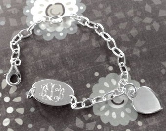 Engravable Sterling Silver Oval and Heart Child Charm Bracelet