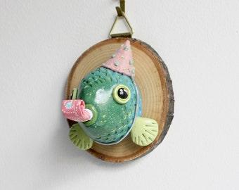 Faux Taxidermy Fish - animal head wall sculpture, wood slice wall art, ooak wall hanging, childrens room decor, marine fish art