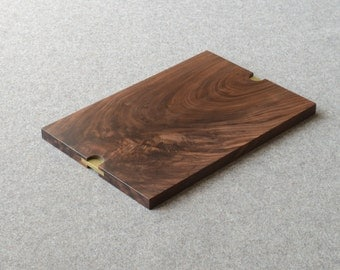 Walnut Serving Tray with inset solid brass size medium