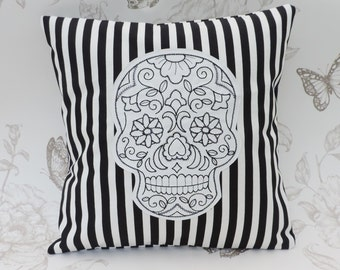 Sugar skull pillow, gothic pillow, cushion,calavera,dia de los muertos, embroidered cushion, black and white stripes, rockabilly, home decor