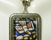 Dove of peace stained glass window pendant and chain - AP05-163