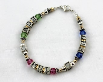 Initial Birthstone Style Mother's or Grandmother's Bracelet