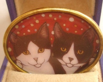 Cats Best Friends Animal Brooch