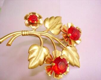 Flower Red Rhinestone  Brooch Gold Tone