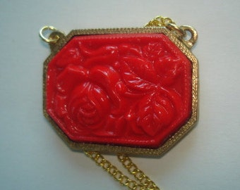 Red Rose  Pendant Vintage Jewelry