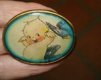 Vintage Jewelry Kewpie Doll Flying on Blue Bird  Brooch KL Design