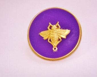 Vintage Jewelry Jumbo Bee Brooch Purple Gold Tone