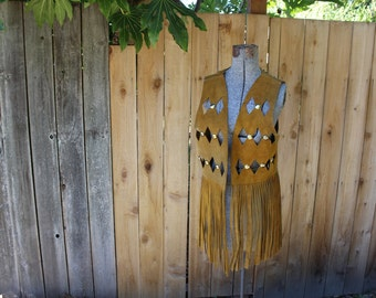 1970s Leather Fringe Studded Vest Made in Mexico Hippie Size 40 VINTAGE by Plantdreaming