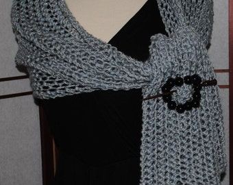 Hand Knitted Silvery-Gray  Fashion Scarf or Wrap