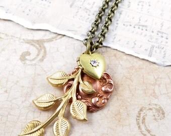 Gold Leaf Necklace, Rose Gold, Vintage Heart Locket, Long Necklace