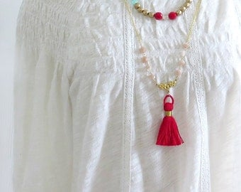 Red Tassel Necklace, Long Tassel Necklace, Beaded Necklace, Tassel Jewelry, Layering Necklace, Fringe Necklace