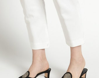 Vintage 90s Black Pointed Toe Mule Heels with Geometric Circle Detail | 8