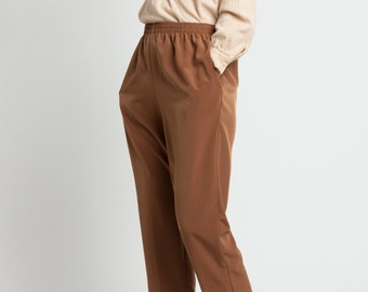 Vintage 90s Rust Brown Minimal Slouchy Trousers | M/L