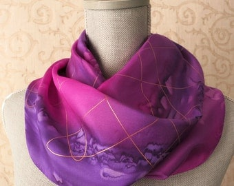 Silk Scarf Hand Dyed in Fuchsia and Orchid Purple with Gold