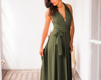 Olive green infinity dress, dark green bridesmaid dress, dark sage green dress, long dark green dress, khaki bridesmaid dress, convertible