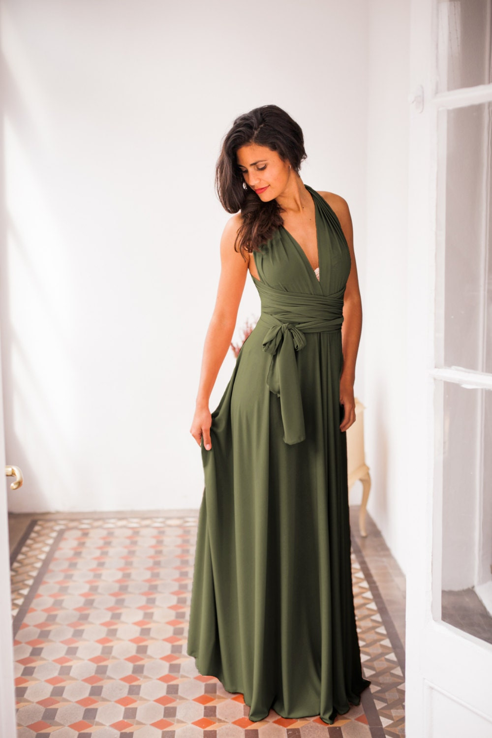 Olive green infinity dress dark green bridesmaid dress dark