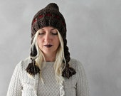 Pixie Hat / Chunky Knit Pixie Hat / Brown Red Pixie Hat / Womens Pixie Hat / Winter Accessories / Pixie Beanie with Tassel / Pom pom Hat