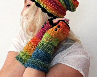 Rainbow Fingerless Gloves Colorful Fingerless Gloves Hand Knit Winter Gloves with Button Handmade Gloves Gift for her