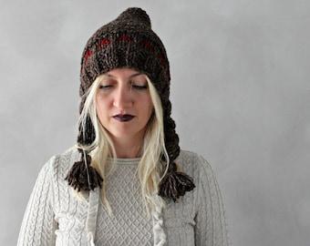 Pixie Hat / Chunky Knit Pixie Hat / Brown Red Pixie Hat / Womens Pixie Hat / Winter Accessories / Pixie Beanie with Tassel / Pom pom Hat