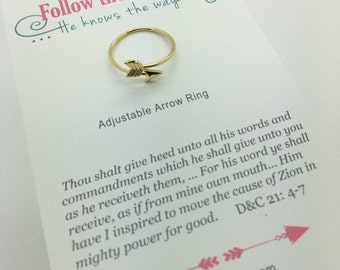 Gold or silver arrow adjustable ring - message Follow the Prophet -He knows the way - Young Women's - Primary - arrow ring gift with message