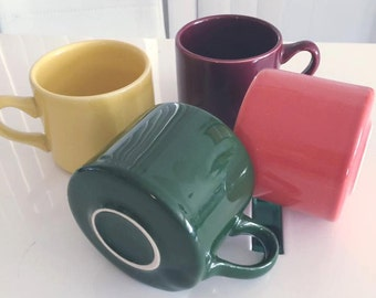 Lot of Four Vintage Homer Laughlin Coffee Mugs -- Restaurant Style -- Fiesta