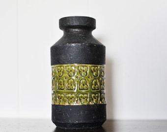Vintage Italian Ceramic Vase by Aldo Londi, Bitossi, Raymor, Trifoglio, Black and Green, Mid Century Ceramics, Mid Century Vase