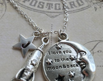 I Love You To The Moon And Back Necklace - I Love You Necklace - Silver Star Initial Charm - Christmas gift