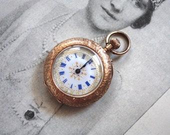 Antique 1910s Half Hunter Case Pocket Watch // 14k Gold // Enamel Face with Blue Roman Numerals // Edwardian Art Nouveau Ladies Watch
