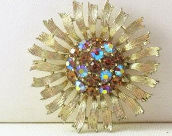 Vintage Lisner Silver Tone AB Rhinestone Floral Sunflower Brooch Pin (B-1-2)