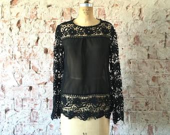 Vintage 1970s Black Lace Blouse Sheer Top Scalloped Floral Lace Boho Shirt M/L