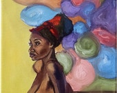 """Black Woman Oil Painting - 8x10"""" Female Nude"""