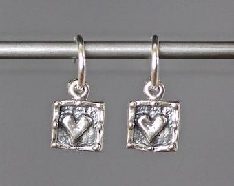 Silver Heart Earrings - Heart Charm Earrings - Bali Earrings - Silver Hoop Earrings - Silver Post Earrings - Silver Dangle Earrings - Gift