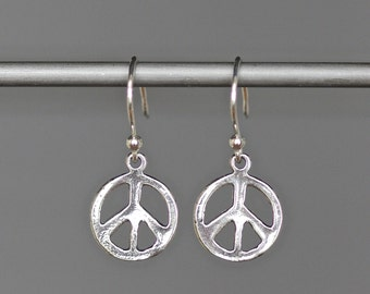 Peace Sign Earrings - Peace Jewelry - Silver Peace - Bali Silver Earrings - Peace Charms - Small Silver Earrings - Silver Charm Earrings