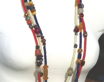 African Trade Beads Necklaces, three necklaces with collection of Bohemian Snake Beads and other antiques, Dzi bead, Jade, Lapis, agate
