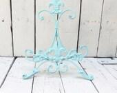 Aqua Blue Easel, Metal Easel, Book Stand, Art Prop, Shabby Cottage Chic, Fleur De Lis, Parisian Chic, French Country, Paris Apartment