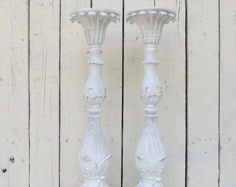 White Candle Holders, Rustic Candles, White Kitchen Decor, Shabby and Chic, Candle Dining Decor, Wedding Candle Decor, French Cottage Decor
